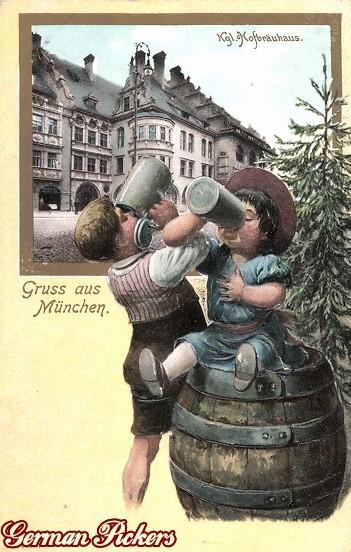 AK - Hofbräuhaus - München - Kinder trinken Bier