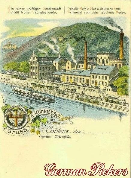 Königsbacher Bräu / Brauerei Ansichtskarte  Ansicht der Königsbacher Brauerei  Gruss von der Königsbach bei Coblenz  Coblenz um 1900