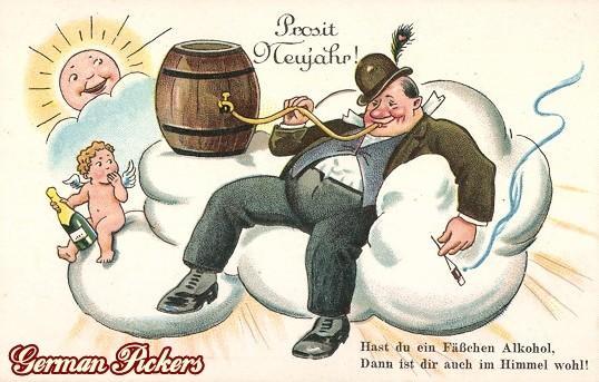 AK Prosit Neujahr Bier Grüße