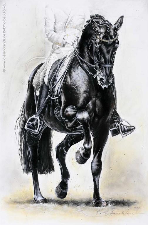 """Dressage"" Acryl auf Leinwand. 120 cm x 80 cm."
