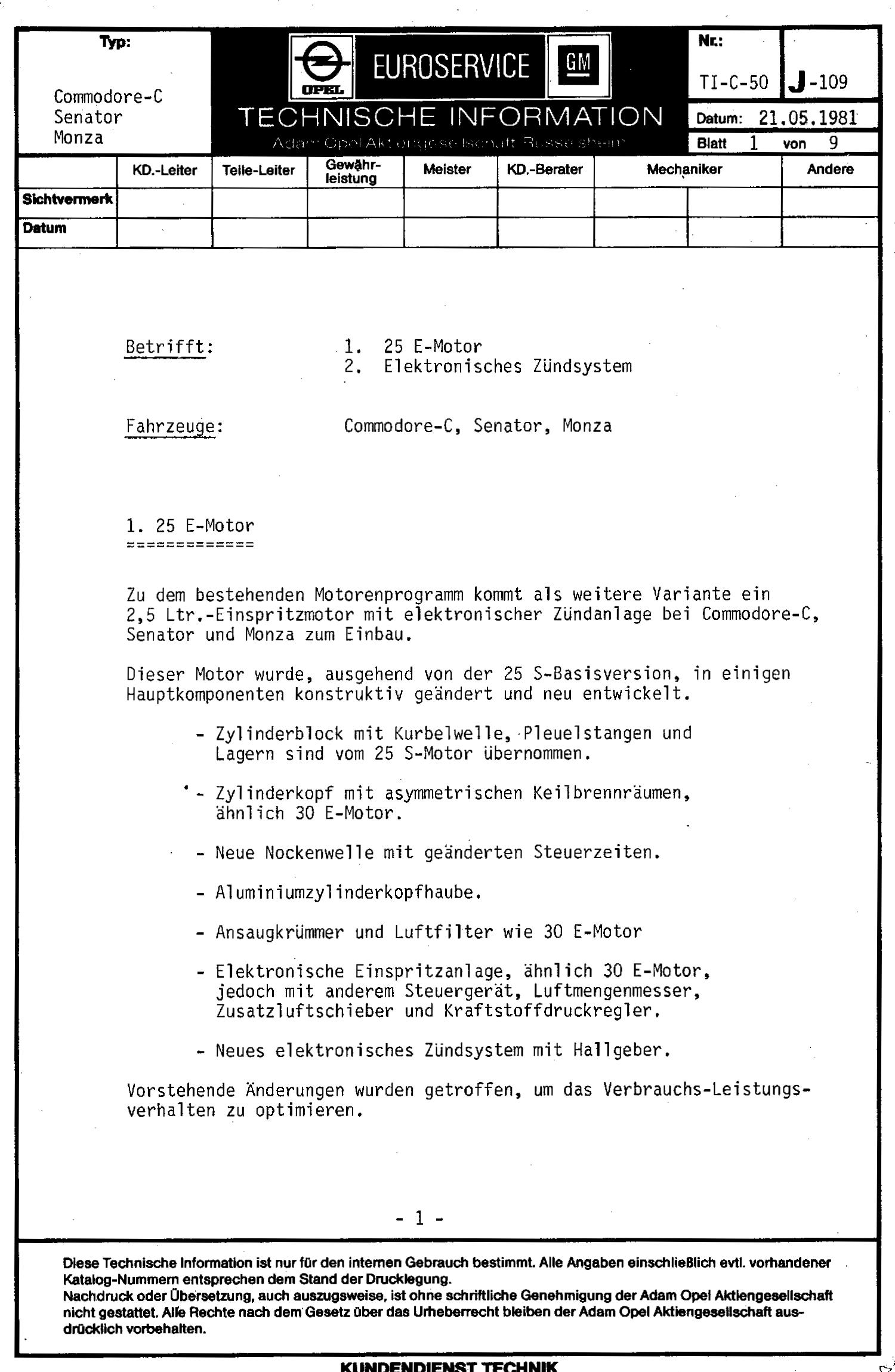 Technische Daten Commodore C 2.5 S - Wissenswertes über den Opel ...