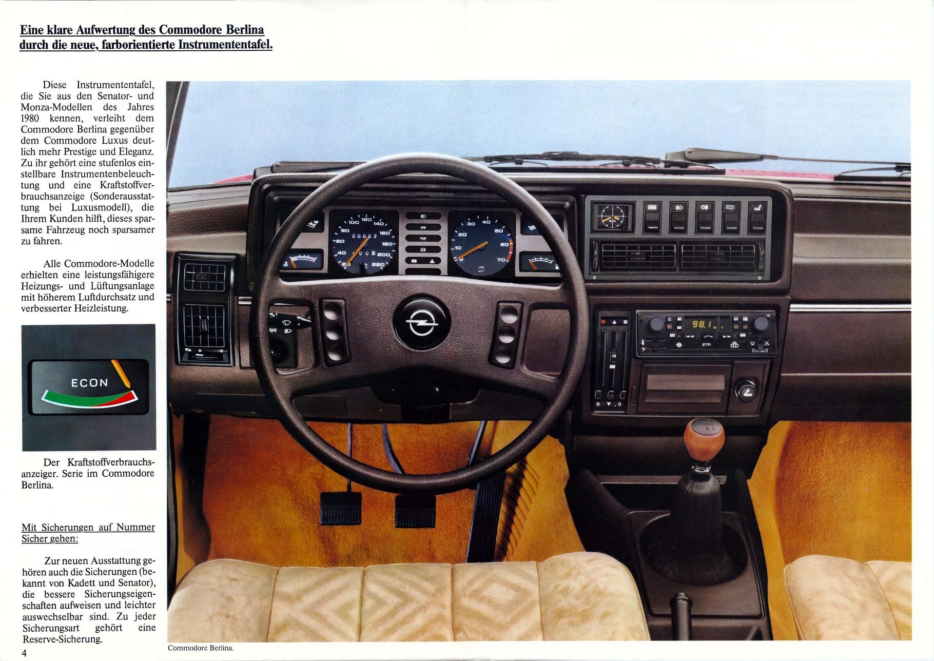 Produktinformation August 1981 - Wissenswertes über den Opel Commodore C