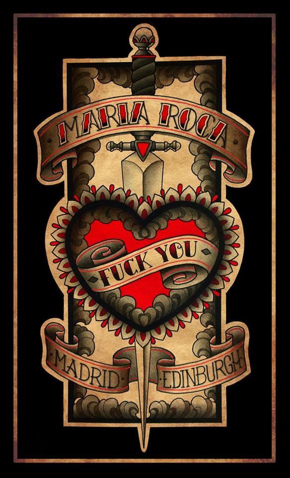 maria roca,tatuajes madrid,fuck you, heart tattoo, dagger, edinburgh tattoo, madrid tattoo, banner, uk tattoo