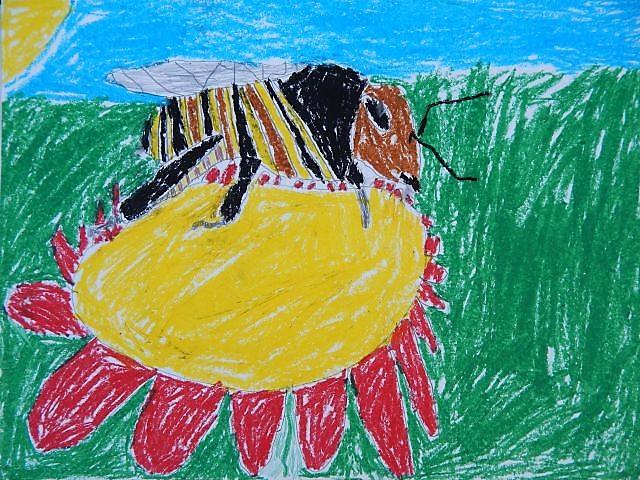 Biene auf Blüte, Kinderkunst