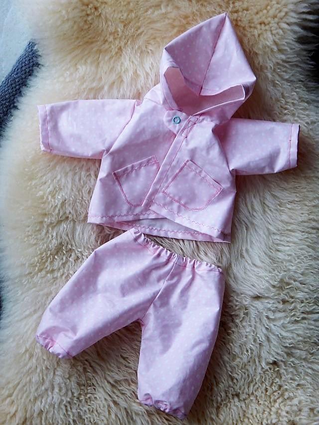 Regenset Puppe, Puppenregenmantel, Puppenmatschhose