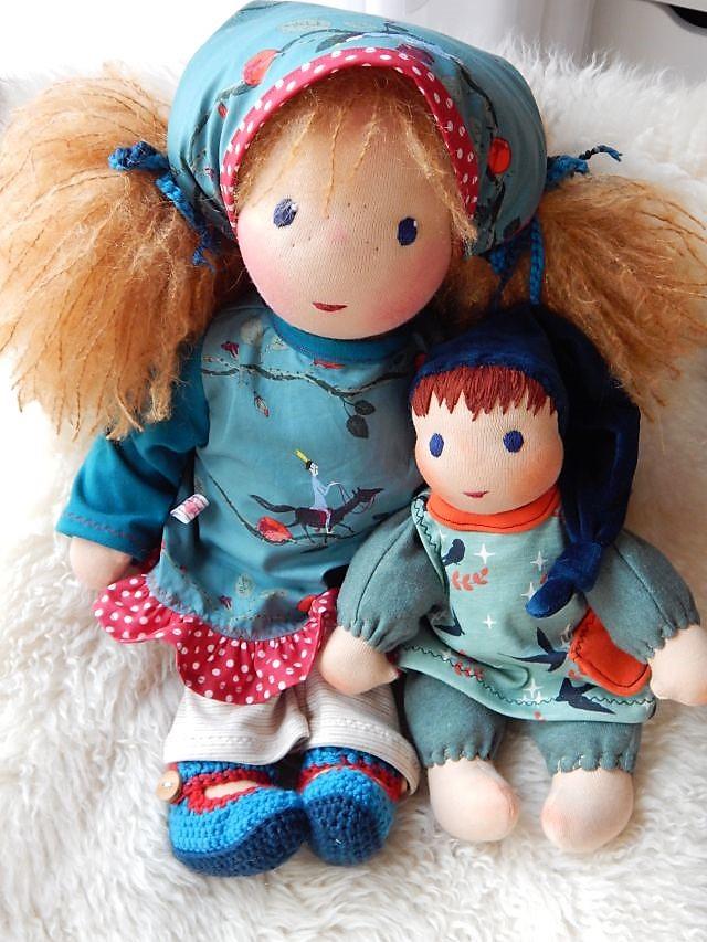 Bio-Stoffpuppe, handgemachte Stoffpuppe, ökologische Kinderpuppe, individuelle Puppe passend zum Kind, Wunschpuppe, Puppe nach Wunsch, Schlamperle, Waldorfart, erste Puppe, Puppenfreundin, Puppenhandwerk