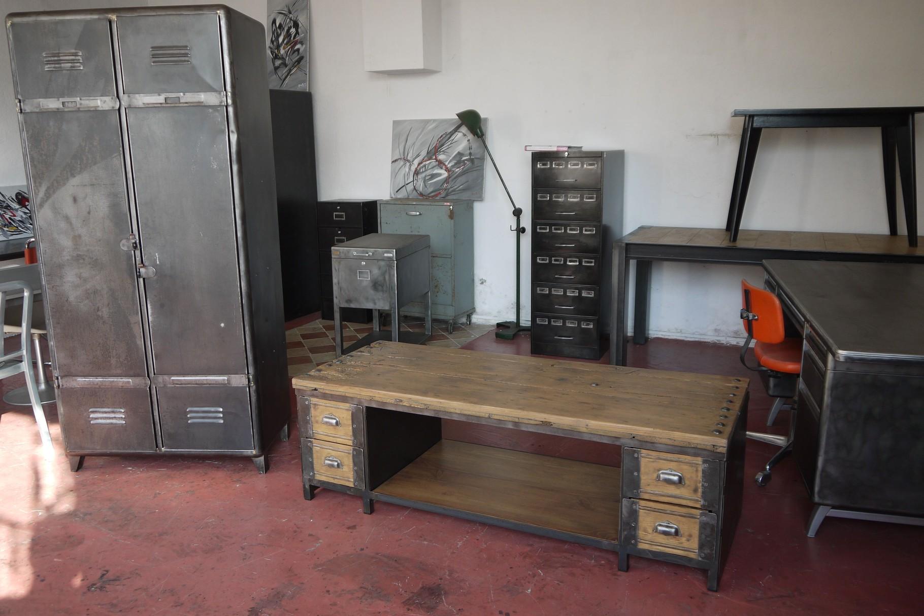 table basse meuble tv industriel atelier vintage mobilier industriel lyon. Black Bedroom Furniture Sets. Home Design Ideas