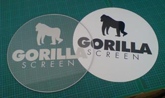 rund gefräste Acryl- und Magnetschilder mit Logobeschriftung