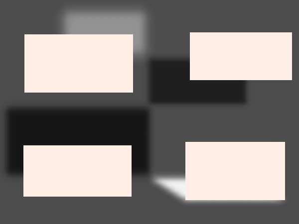 Aufgabe: lege 4 Rechtecke im 2D-Modus auf und gebe jedem einen anderen Schatten
