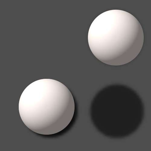 lege eine 3D-Kugel auf und vergib einen Schatten. Dupliziere die Kugel und setze den Schatten weiter nach unten ...