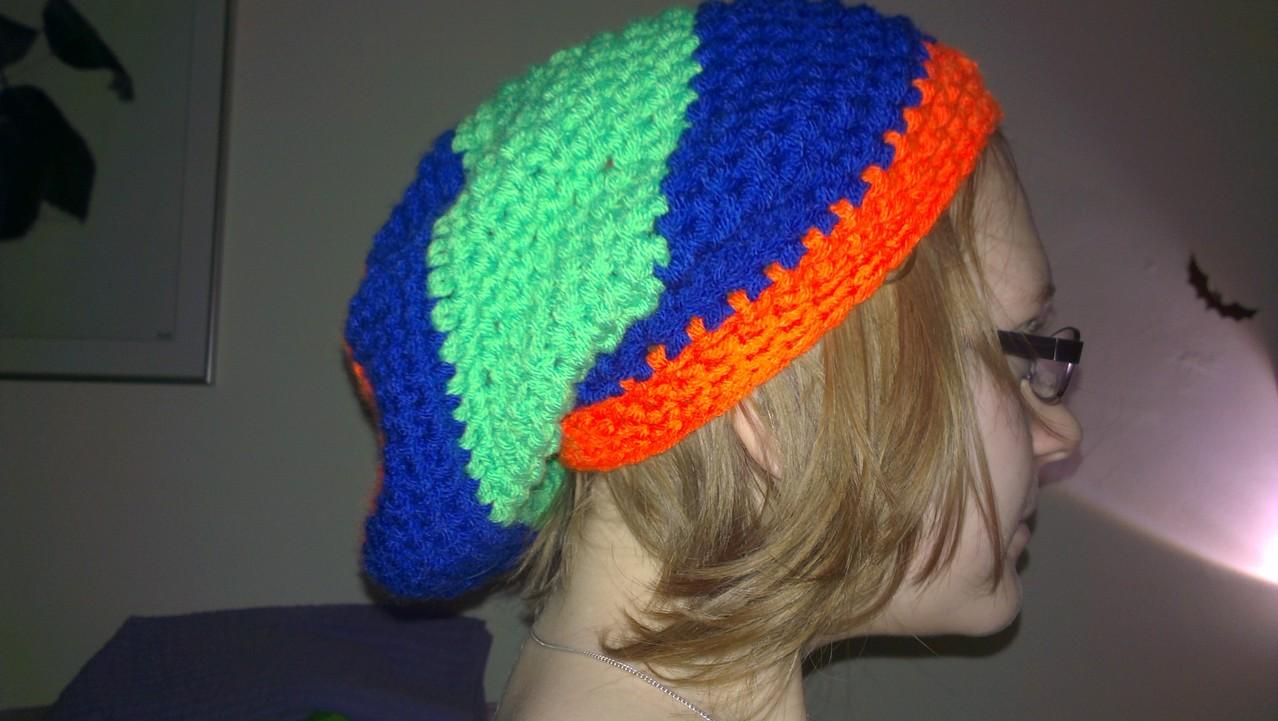 meine erste gehäkelte Mütze, ein Longbeanie