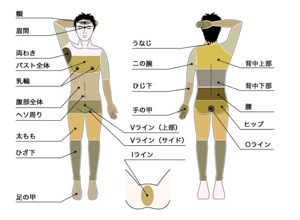 男性専門脱毛サロン メンズディオーネ大阪梅田店 脱毛部位一覧