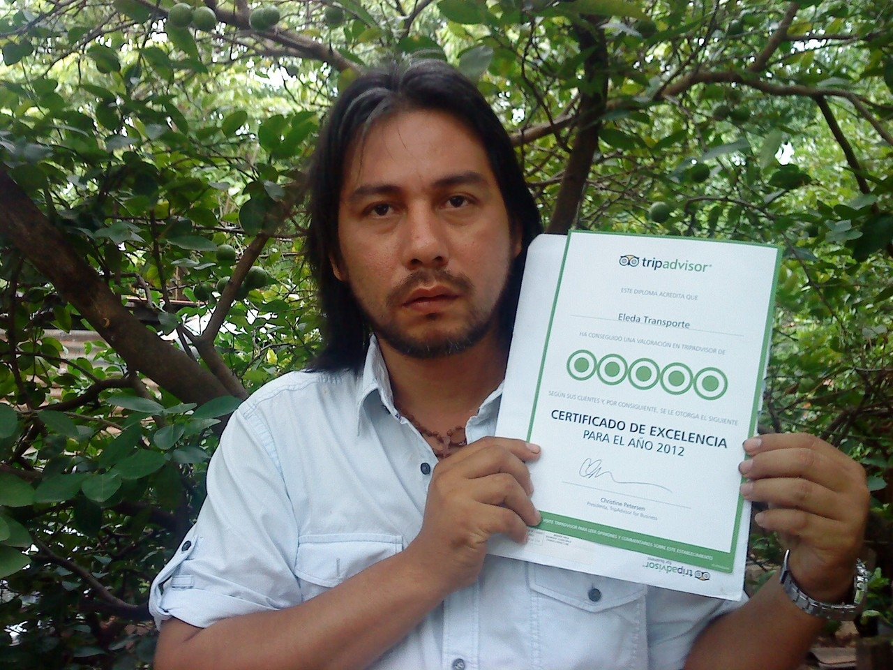 Proud Bosco with his 2012 certificate of excellence