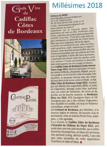 Millésimes 2018, Château du Payre