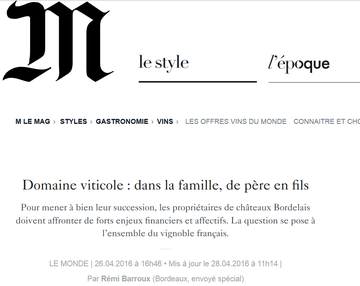 Article le monde, domaine viticole, Château du Payre