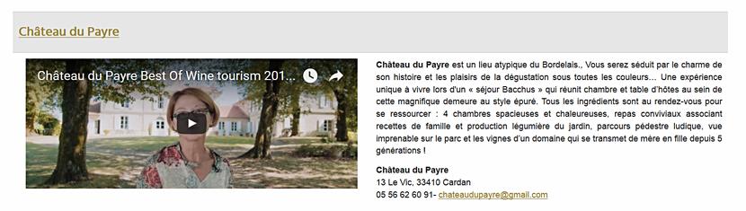 Best of wine tourism 2017 - catégorie Hébergement au Château du Payre