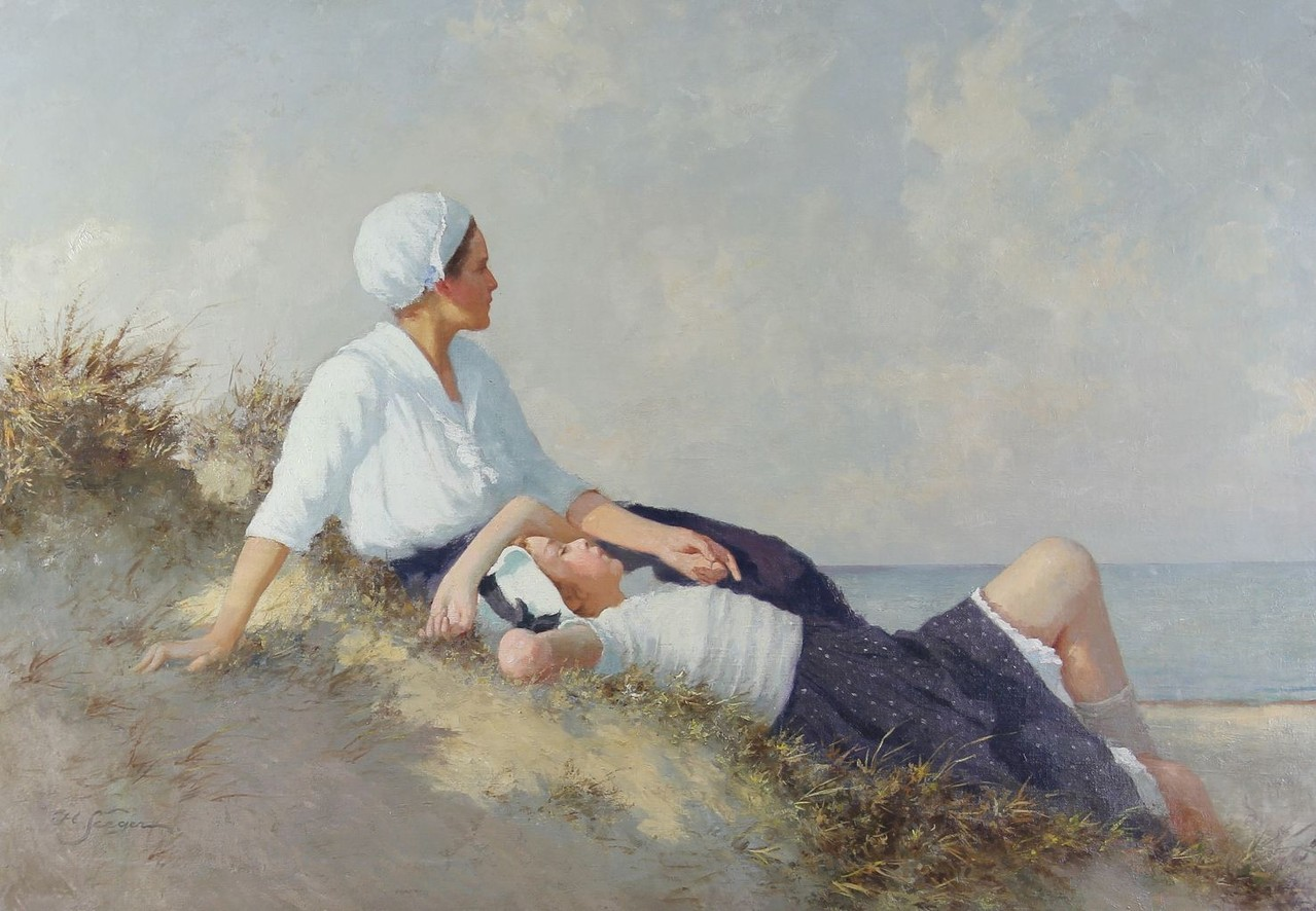 Hermann Seeger Ölgemälde 'Mädchen in den Dünen' auf der Gemäldeauktion