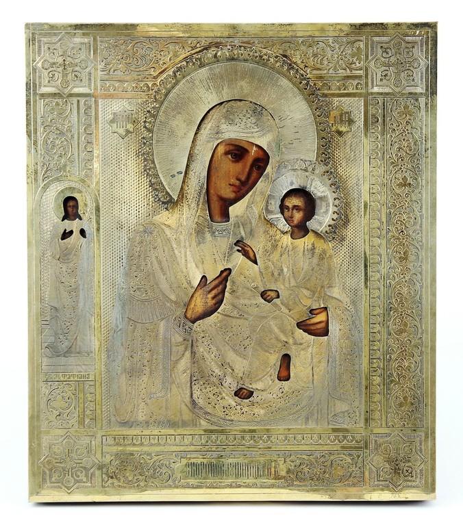 Ikone mit Silberoklad 'Muttergottes Grusinskaja' Zarenreich um 1900 Erlös 2800 €