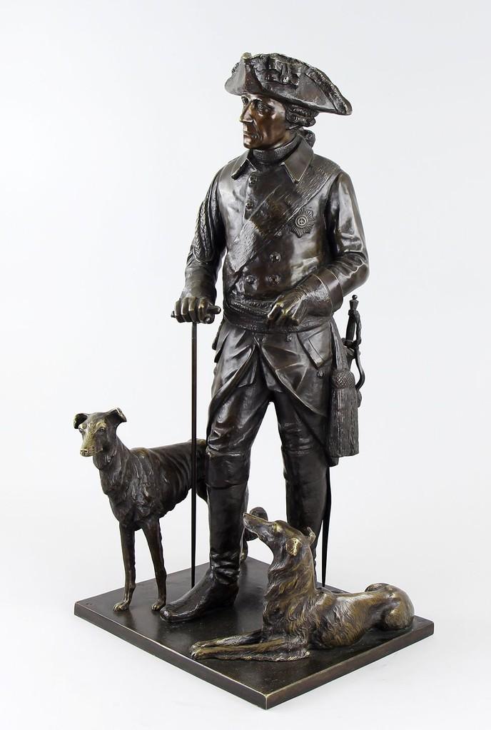 'Der alte Fritz mit seinen Windspielen' v. Jensen Bronzefigur ~1910, 81cm