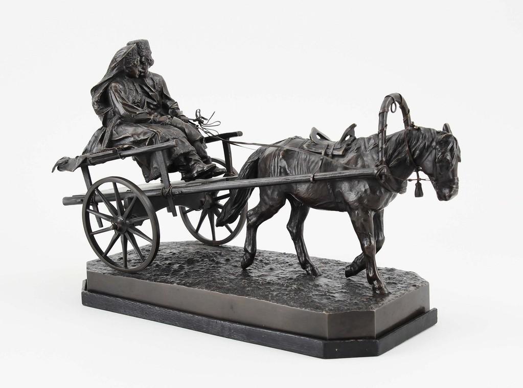 Bronzefigur ' Hochzeitsfahrt' v. Albert Moritz Wolff, Auktionserlös 4000€