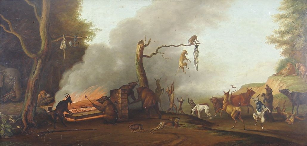 'Des Jägers Tod' Ölgemälde 18./19. Jahrhundert