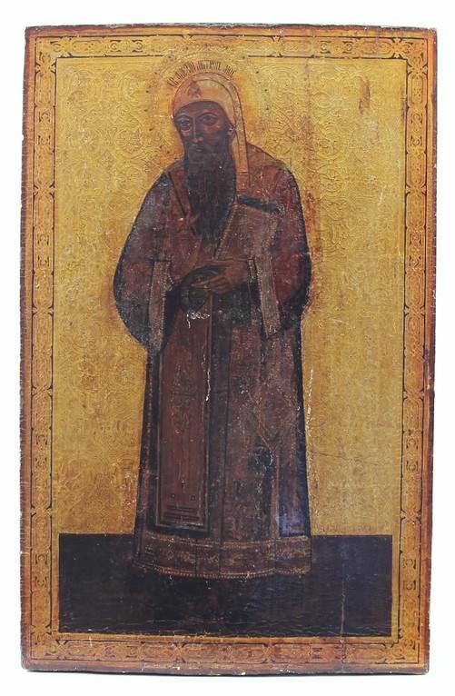 Grosse Ikone 'Heiliger Alexej' Russland 19. Jahrhundert