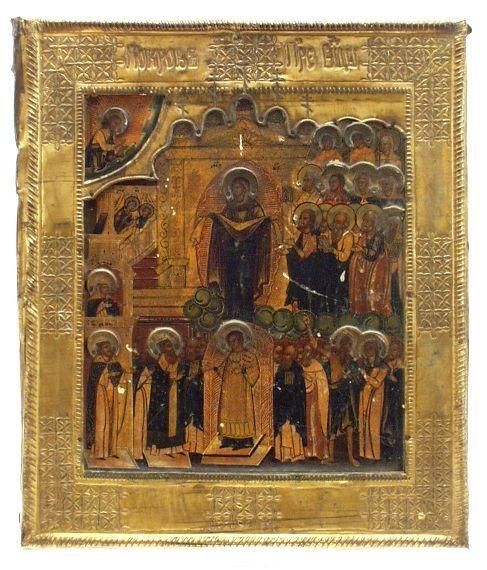 Ikone 'Gottesmutter Pokrow' 17./18. Jhd.
