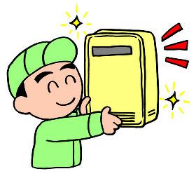 給湯器を渡すサービスマン