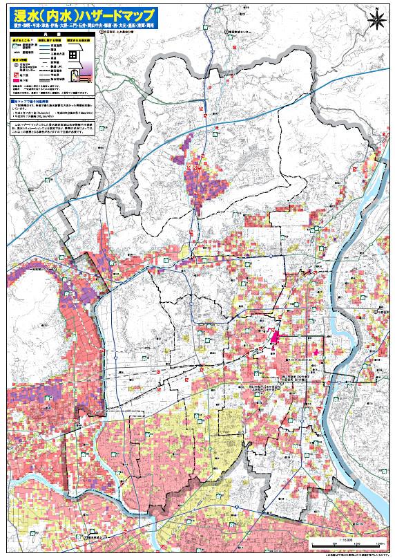 平成30年西日本豪雨後の岡山全域の内水被害のハザードマップ改訂版
