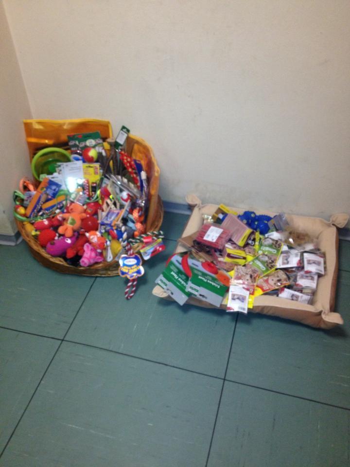 .. Ein Korb mit Leckereien und Spielzeug zum Tauschen ...