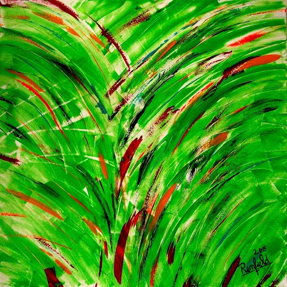 The Green Bird (100 x 100) Acryl auf Leinwand