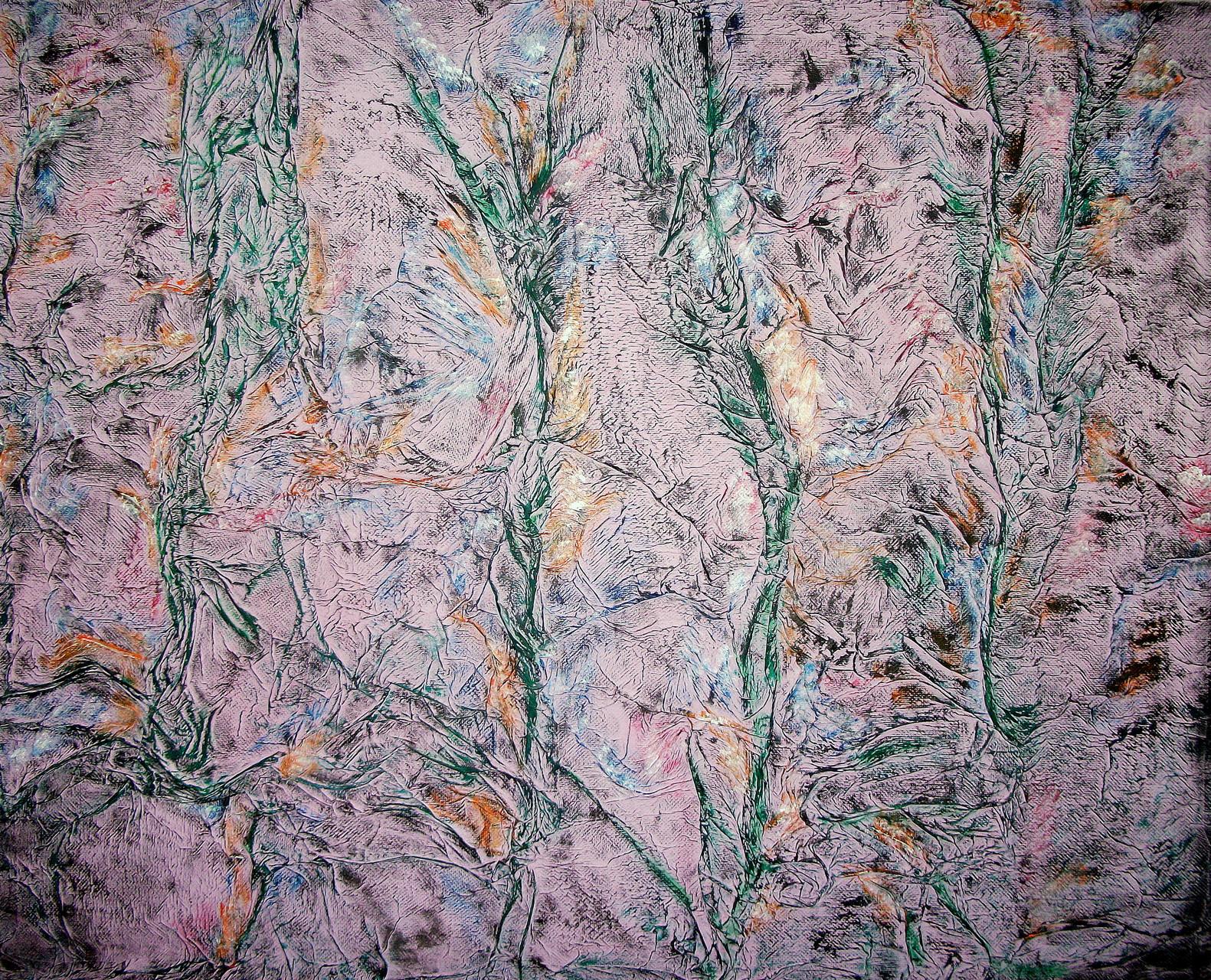 Blumenstrauch bei Nacht ( 80 x 100 ) Acryl und Struktur auf Leinwand