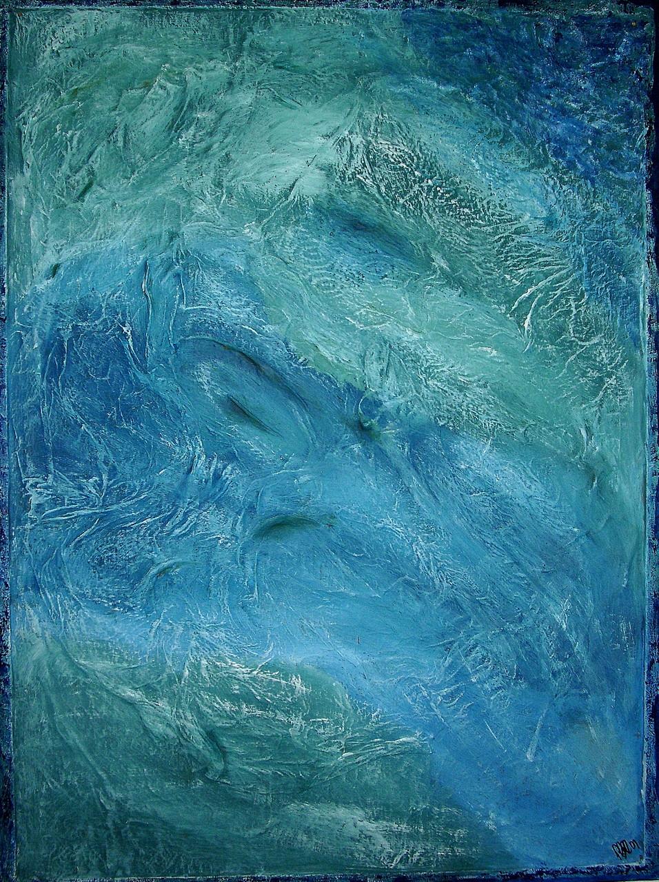 Blue (ca. 60 x 80) Acryl auf Korkuntergrund mit Struktur und Holzrahmen