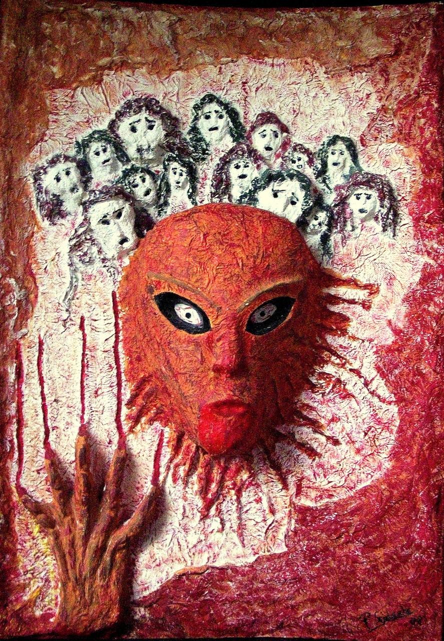 Gequälte Seelen Objekte aus Ton und Struktur auf gebogener Holzplatte mit Acrylfarben (41 x 60)