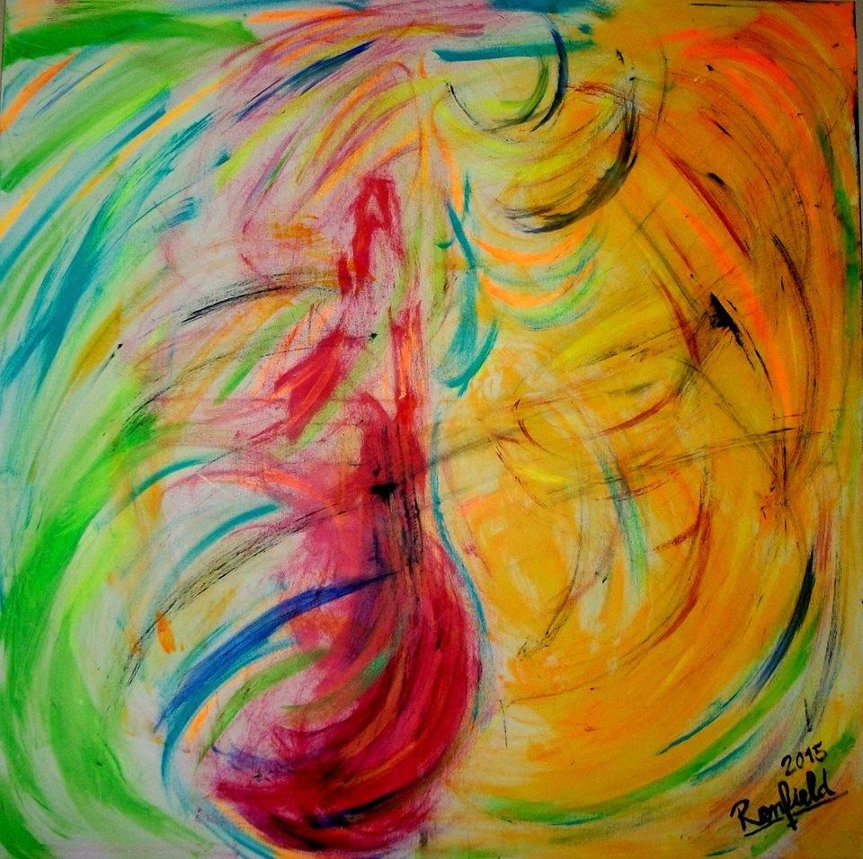 Die Farben Tänzerin (100 x 100) Acryl auf Leinwand (100 x 100 ) Kaufpreis 450 €uro