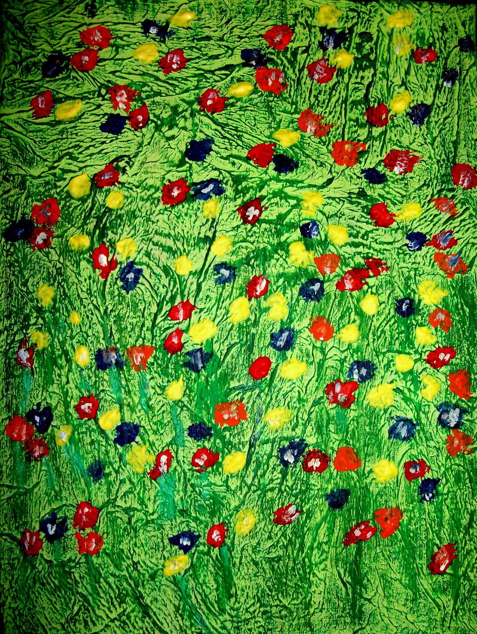 Blumenwiese Abstrakt ( 30 x 40 ) Acryl und Struktur auf Leinwand
