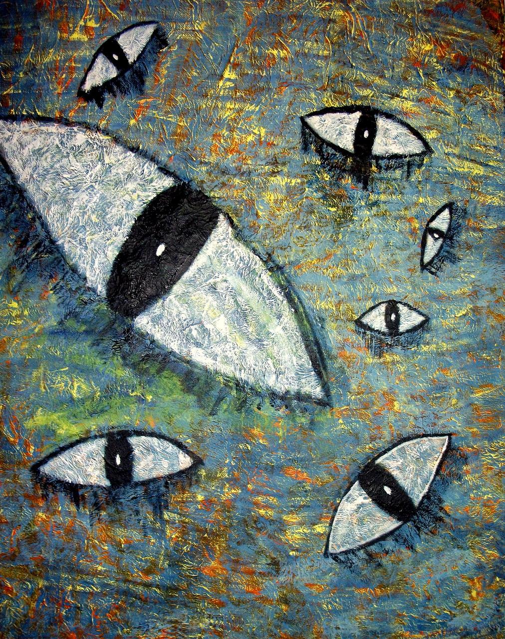 Augen Blick ( 80 x 100) Acryl und Struktur auf Leinwand