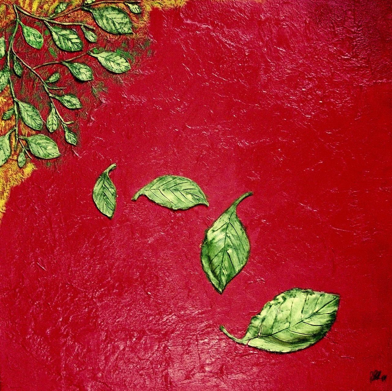 Blätter im Wind ( 60 x 60) Acryl und Objekte aus Ton auf Leinwand