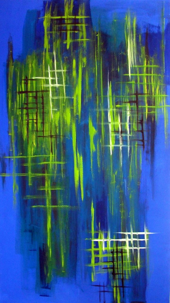Blau mit Grün (88 x 157) Acryl auf Leinwand