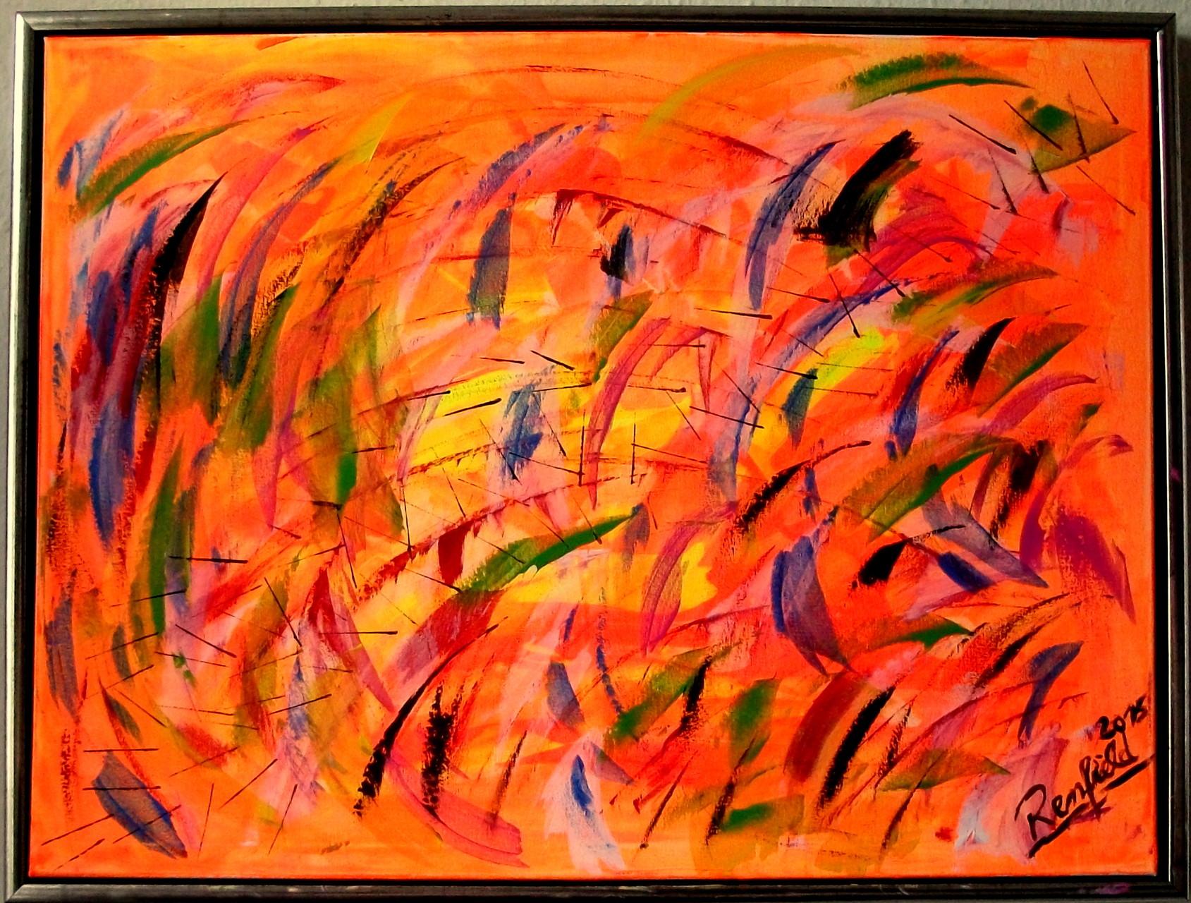 The Orange ( 80 x 60 ) Acryl Tagleuchtfarben auf Leinwand mit Rahmen