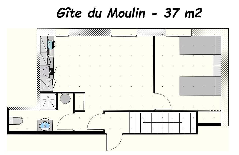 plan de l'appartement gite du Moulin, aux Gites des Camparros à Nailloux