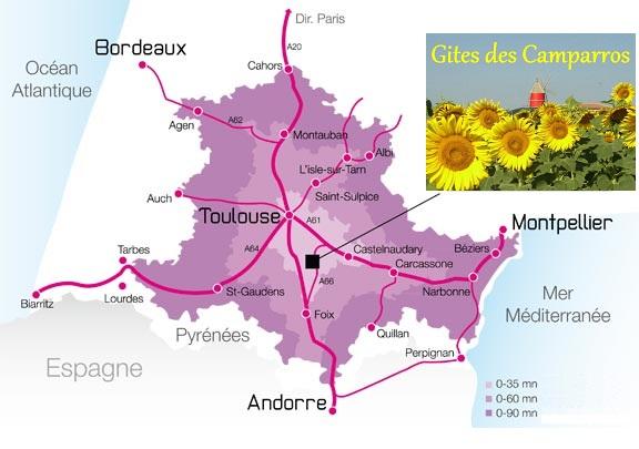 plan regional de situation des Gites des Camparros à Nailloux