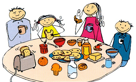 dessin de petit déjeuner en famille aux Gites des Camparros à Nailloux