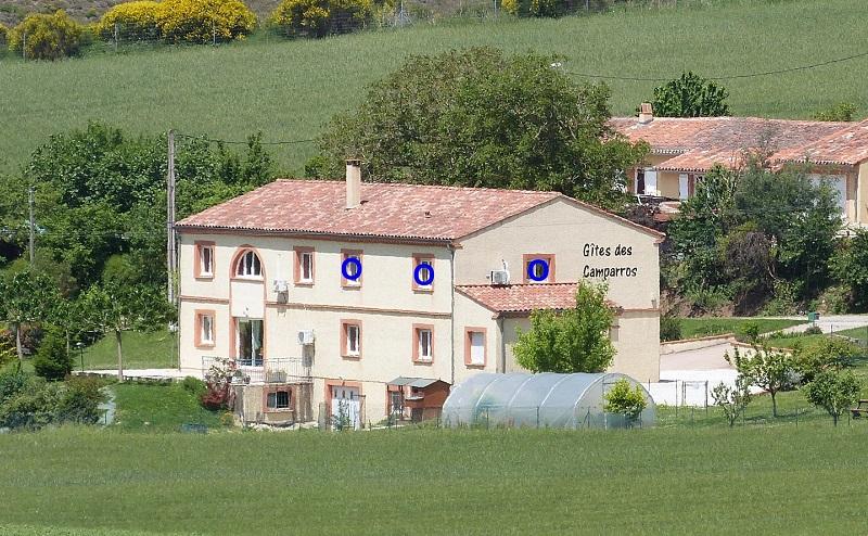 position des fenêtres du Gite des Tournesols, aux ites des Camparros à Nailloux