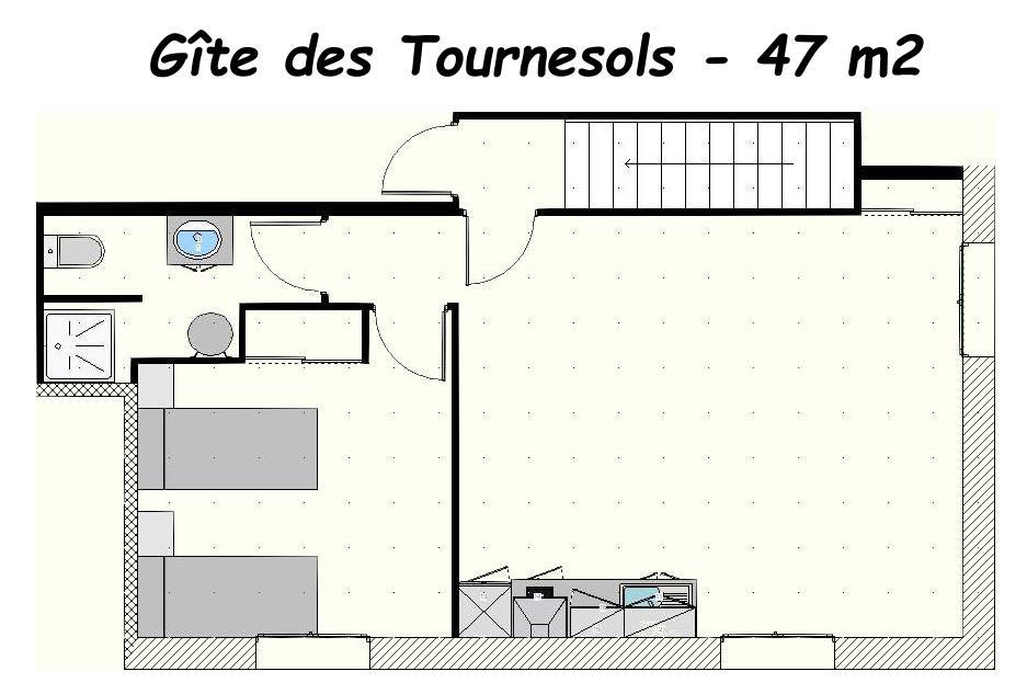 plan de l'appartement gite des Tournesols, aux Gites des Camparros à Nailloux