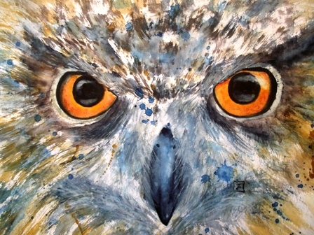 "Kurzohreule - Short eared owl - ""Watching You"" - Aquarell - 30 x 40 cm - zu verkaufen"