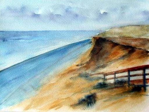 Rotes Kliff auf Sylt - Aquarell - 24 x 32 cm - zu verkaufen