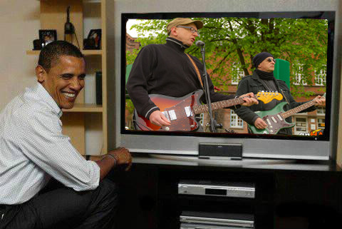 Barack, Bob & Me enjoy the TV program...