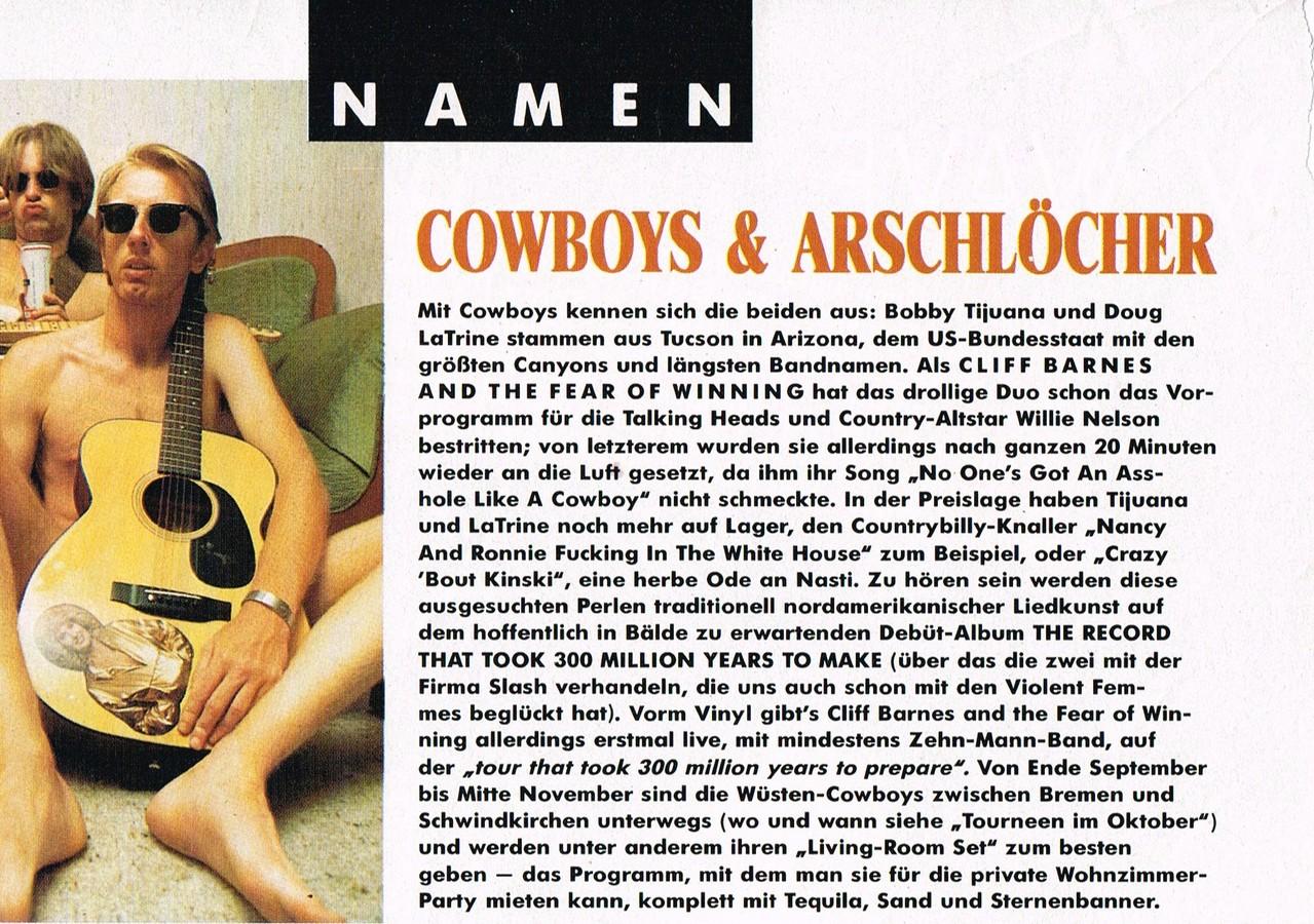 Cowboys & Arschlöcher - ein Artikel aus dem Musik Express