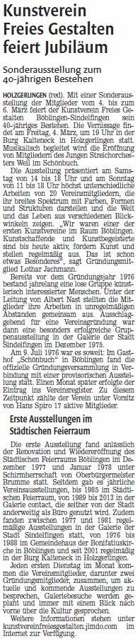 KREISZEITUNG Böblinger Bote 28.02.2016